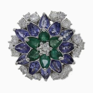 Emerald, Sapphire, Diamond & Gold Daisy Ring