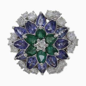 Smaragd, Saphir, Diamant & Gold Daisy Ring