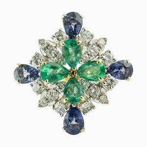 Diamond, Sapphire, Emerald & Rose Gold Ring