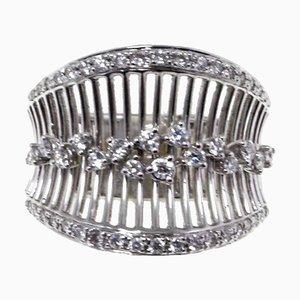 Weißer Diamant und 18 Karat Weißgold Bandring