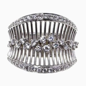White Diamond & 18K White Gold Band Ring