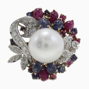 Diamond, Ruby, Blue Sapphire, Pearl & Gold Cluster Ring