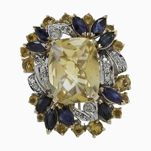 Diamant, Blauer Saphir, Gelber Topas & Gold Cluster-Ring