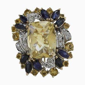 Diamond, Blue Sapphire, Yellow Topaz & Gold Cluster Ring