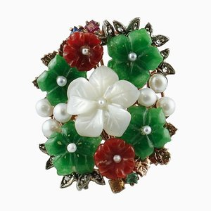 Mother-of-Pearl, Sapphires, Rubys, Emeralds, Diamonds, Stone Rose, Gold and Silver Ring