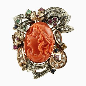 Diamonds, Rubies, Emeralds, Sapphires, Coral Rose Gold and Silver Ring