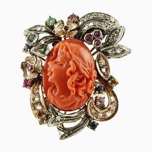 Ring aus Diamanten, Rubinen, Smaragden, Saphiren, korallenrotem Roségold und Silber
