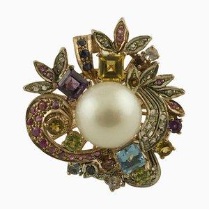 Diamonds, Blue Sapphires, Ruby, Topaz, Amethyst Peridots and Australian Pearl Ring