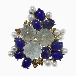 Blue Lapis, Aquamarin, Perle, Roségold und Silber Bouquet Flowers Cocktail Ring
