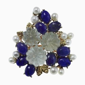Blue Lapis, Aquamarine, Pearl, Rose Gold and Silver Bouquet Flowers Cocktail Ring