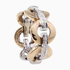 Ring aus 18 Karat Rosé- und Weißgold mit Diamanten