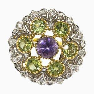Blumenring aus Diamanten, Amethysten und Gelb- und Weißgold