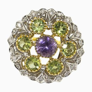 Diamonds, Amethyst and Yellow and White Gold Flower Ring
