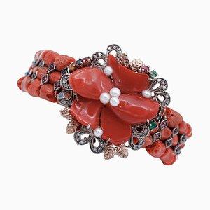 Coral, Diamonds, Emeralds, Rubies, Sapphires, Garnets, 9KT Gold and Silver Bracelet