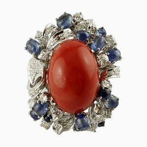 Red Coral, Diamonds, Blue Sapphires and 14 Karat White Gold Ring