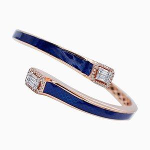 Diamonds, Enamel and 18 Karat Rose Gold Clamper Bracelet