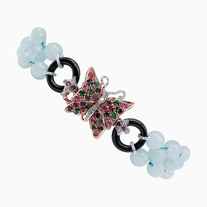 Aquamarine Diamonds, Emeralds, Rubies, Sapphires, Onyx, 9KT Gold and Silver Bracelet