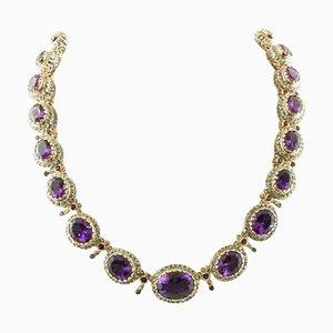 Handgefertigte Halskette aus Amethyst, 9 Karat Roségold und Silber