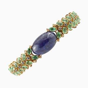Central Tanzanite, Diamonds, Emeralds and Rose Gold Bracelet