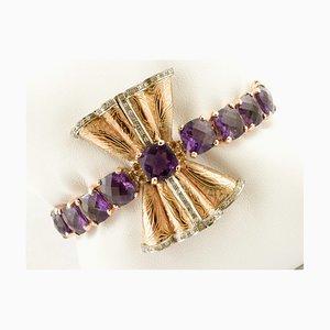 Amethyst, Topaz, Diamonds and Rose Golf Bow Bracelet