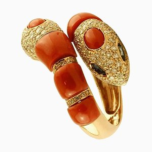 Diamonds, Blue Sapphires, Coral, and 14K Yellow Gold Snake Ring