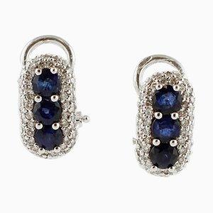 Ohrringe mit Diamanten, blauen Saphiren und 18 Karat Weißgold, 2er Set