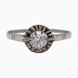 Diamond and 18 Karat White Gold Ring
