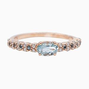 Aquamarine, Diamonds and 18 Karat Rose Gold Ring