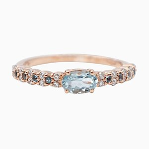 Ring aus 18 Karat Roségold mit Aquamarin und Diamanten