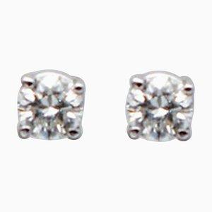 0,25 Carat White Diamonds and 18 Karat White Gold Stud Earrings, Set of 2