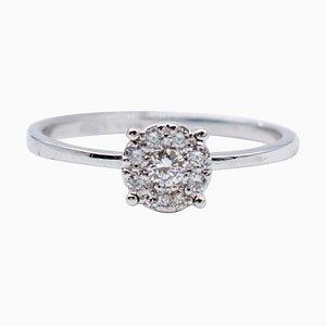 White Diamonds and 18 Karat White Gold Magic Ring