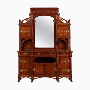 Italian Art Nouveau Carved and Gilded Metal Mounted Cabinet