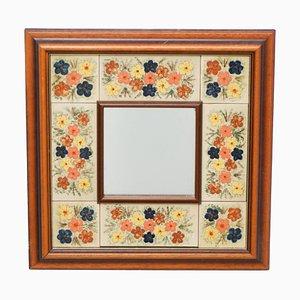 Mid-Century Spiegel aus Holz & Keramik, 1970er