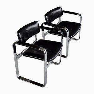 Mid-Century Armlehnstühle aus poliertem Aluminium & schwarzem Leder, 2er Set