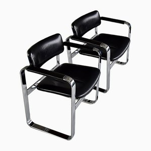 Mid-Century Polished Aluminium and Black Leather Armchairs, Set of 2