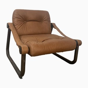 Italian Leather and Brass Armchair, 1970s
