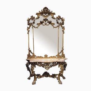 Große Konsole mit goldenem Holzspiegel im Louis XV Stil