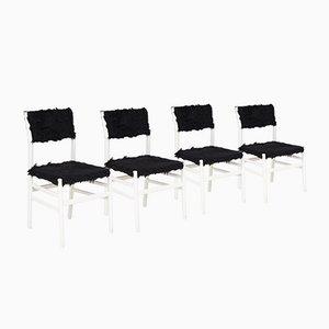 Leggera Stühle aus weißem Holz und schwarzem Kunstfell von Gio Ponti, Italien, 1950er, 4er Set