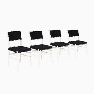 White Wood and Black Faux Fur Leggera Chairs by Gio Ponti, Set of Four, Italy, 1950s