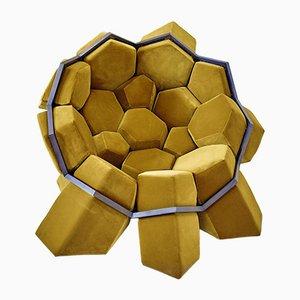 Quartz Sustainable Armchair in Gold Velvet by D3CO