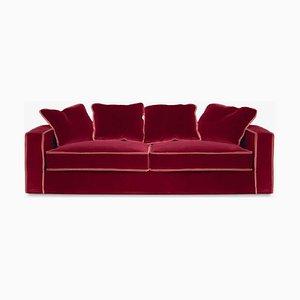 Rafaella Bio Sofa aus rotem & rostigem Samt von D3CO