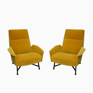 Armchairs by Claude Vassale in Orange Yellow Velvet, 1950s, Set of 2