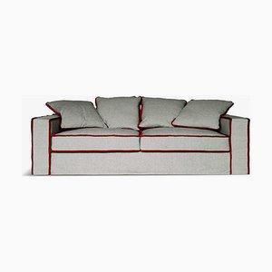 Rafaella Bio Sofa aus grauem Leinen & rotem Samt von D3CO