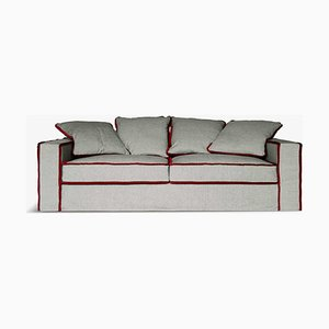 Rafaella Bio Sofa in Grey Linen & Red Velvet by D3CO