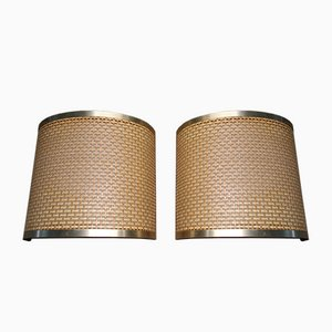 Italian Lamps in Straw and Brass, 1970s, Set of 2