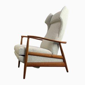 White Teak Wing Chair, Denmark, 1960s