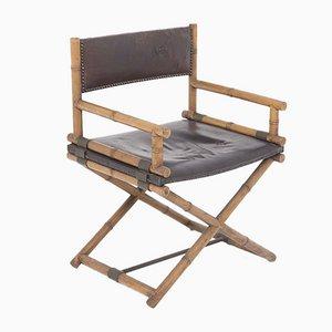 Modell X-Chair Regiestuhl aus Leder, Bambus und Messing von McGuire, San Francisco, 1950er