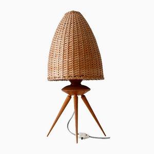 Mid-Century Scandinavian Rattan & Teak Table Lamp, 1960s