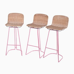 Italian Cane and Metal Barstools from Cidue, 1980s, Set of 3