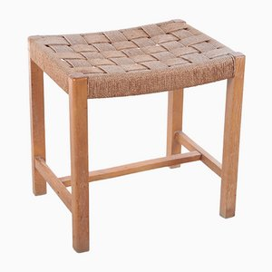 Danish Vintage Side Stool in Woven Seagrass, 1960s